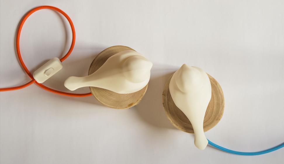 Lampada da tavolo legno ceramica Daimon