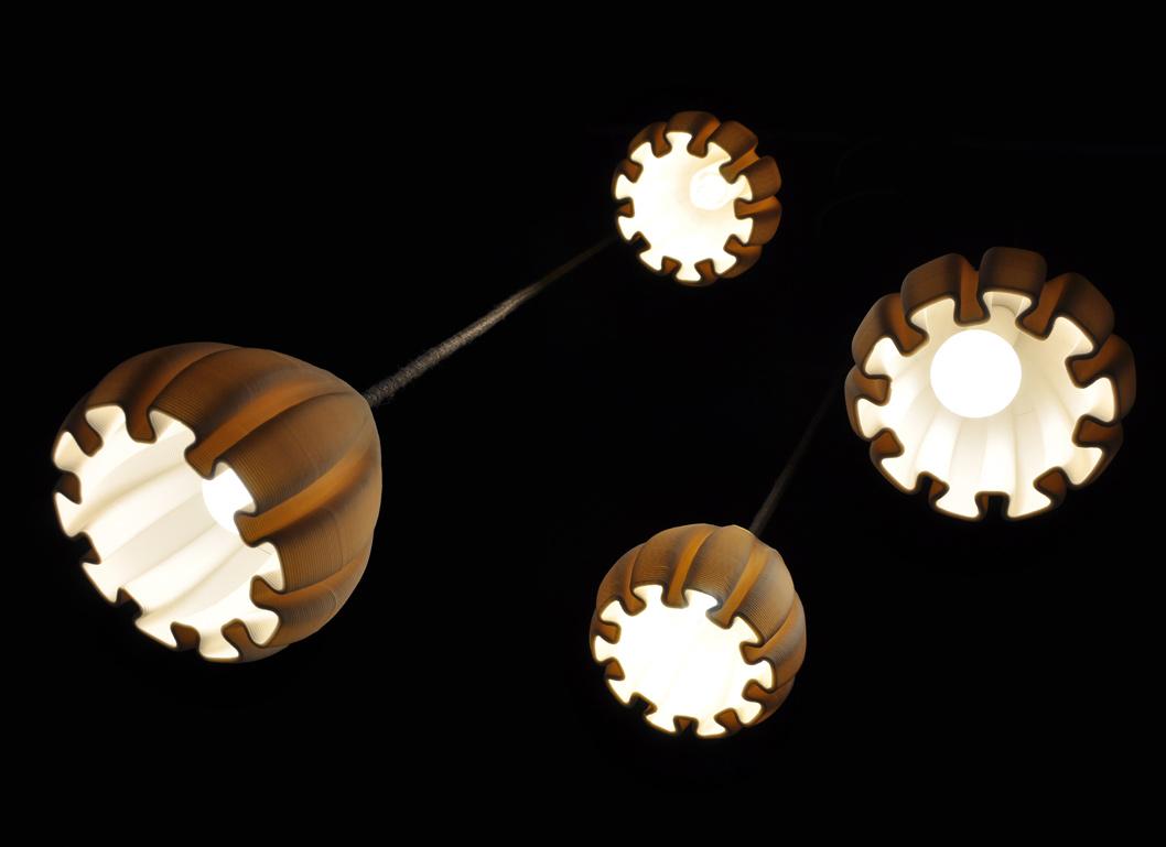lampade a sospensione in porcellana stampata in 3D