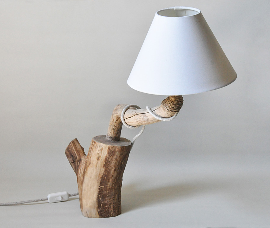 Lampade da tavolo in legno con paralume in cotone livyng ecodesign - Lampade da tavolo in legno ...