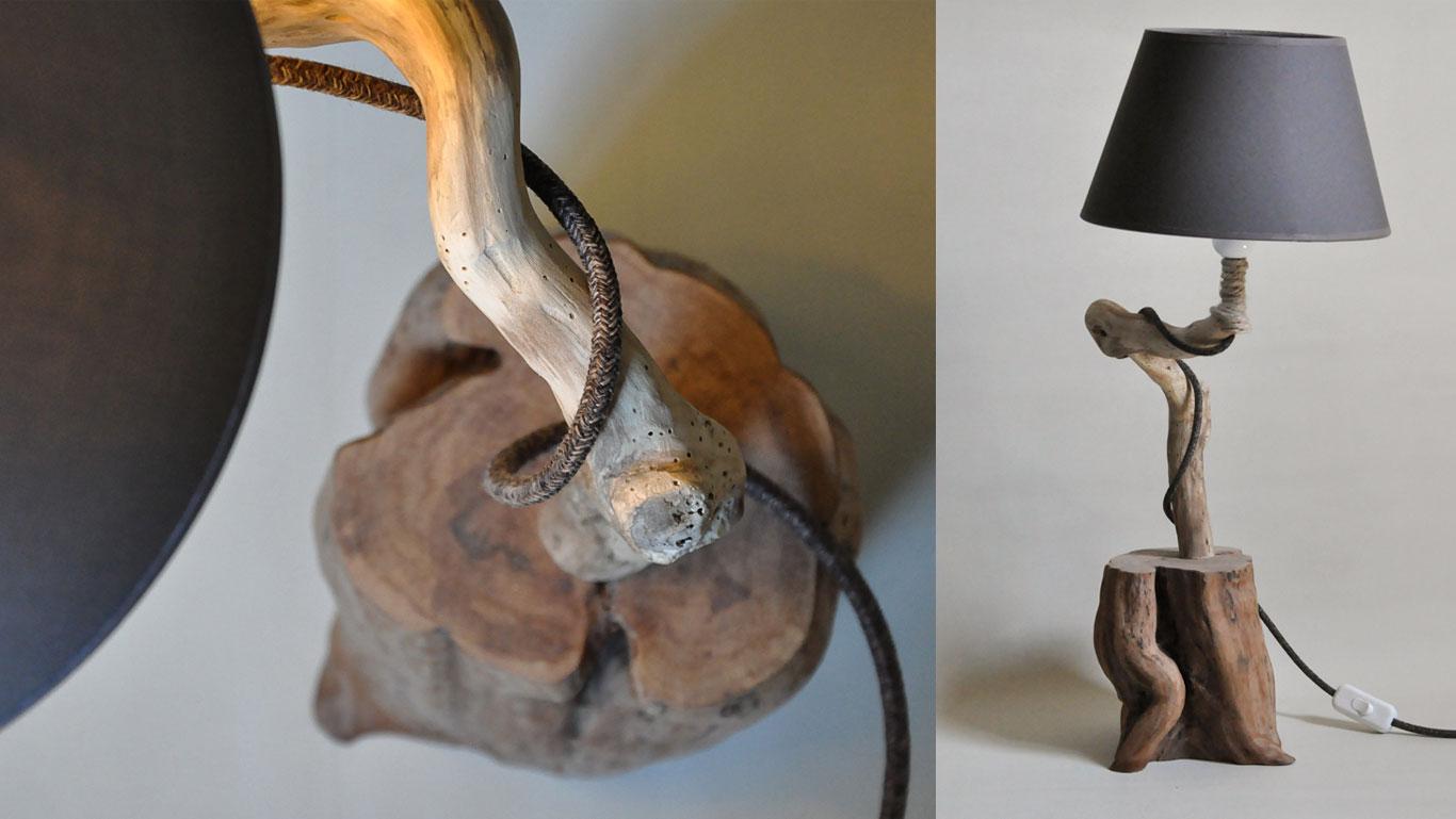 lampade da tavolo in legno - paralume antracite