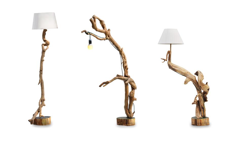 lampade da terra in legno naturale
