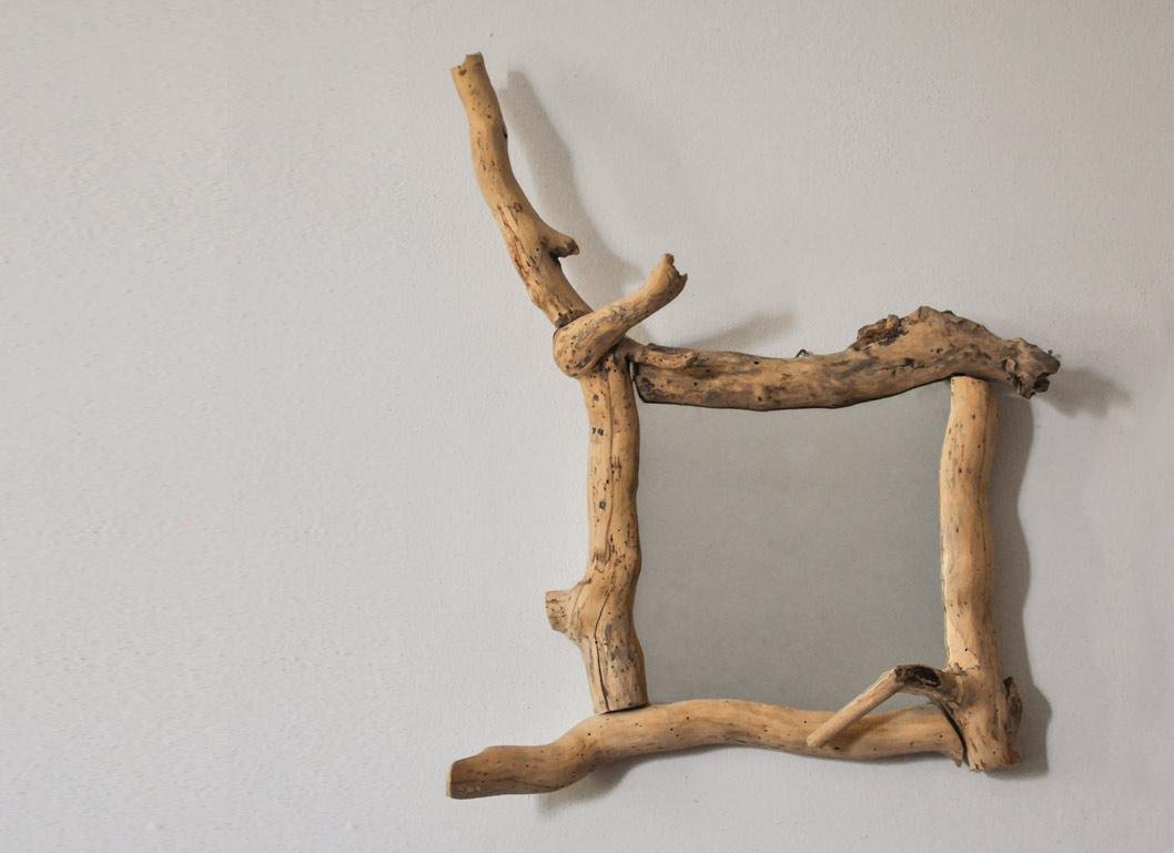 specchiere in legno di recupero in edera
