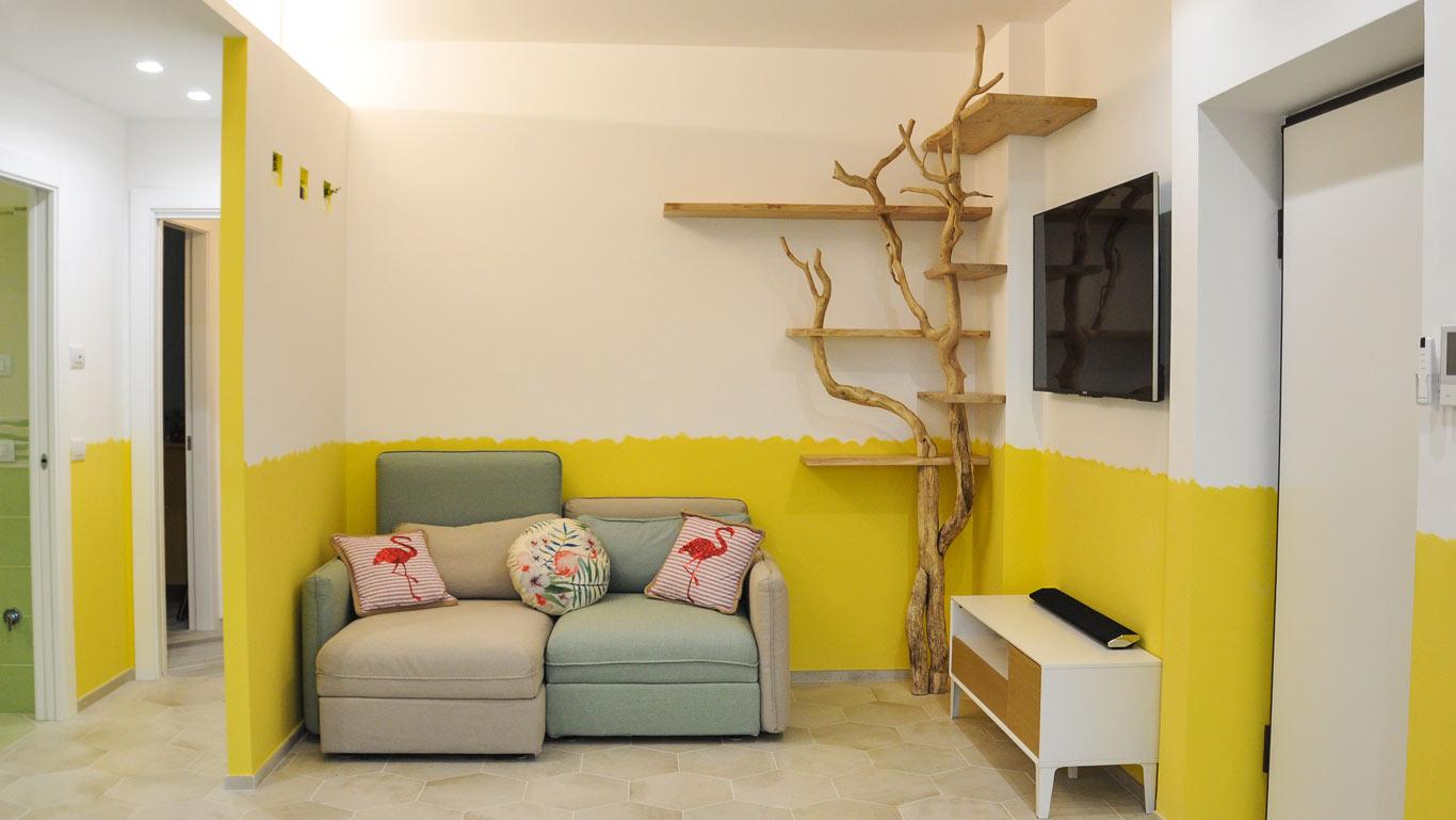 libreria albero a sei ripiani angolare