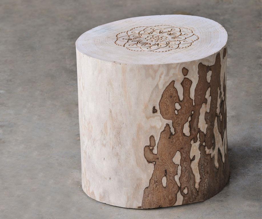 tavolino tronco di legno