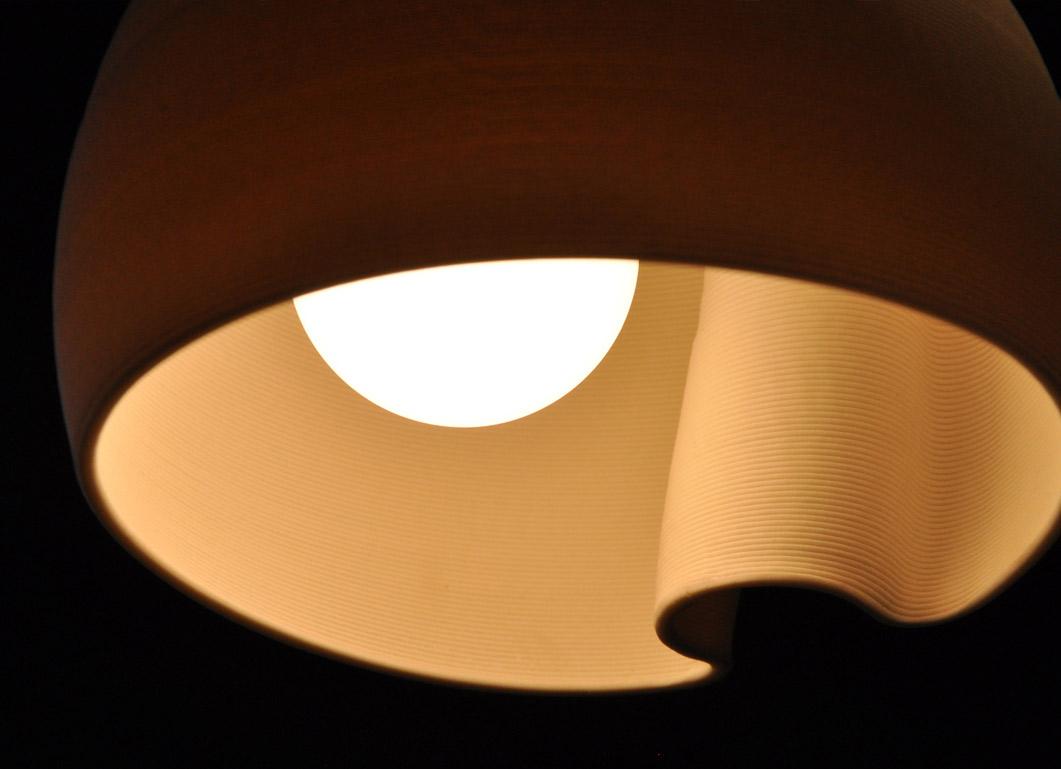 particolare lampada a sospensione stampata in 3D