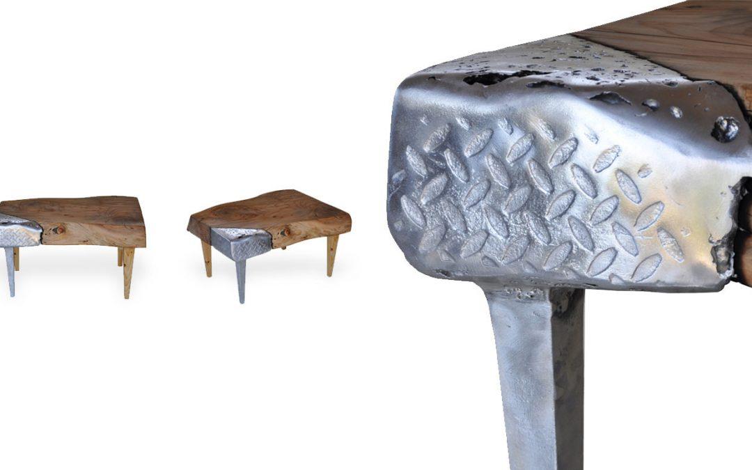 Tavolino in legno e alluminio Mercurio