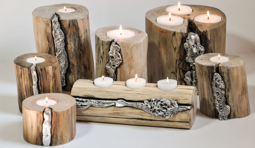 Portacandele in legno e alluminio Icaro