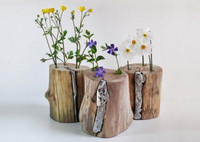 Vaso in legno e alluminio Narciso